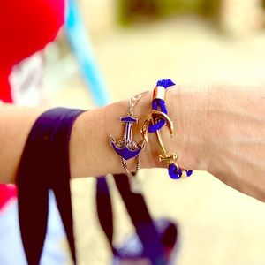 Blue Braided Rope Anchor Warp Bracelet